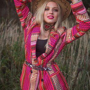Barwna, długa marynarka w stylu bohemy artystycznej - Długa Marynarka Gypsy