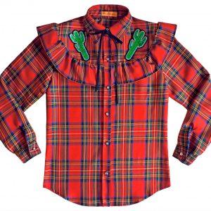 Koszula w czerwoną kratę z kaktusami