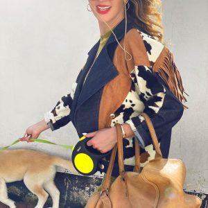 Jeansowa kurtka z frędzlami w stylu dzikiego zachodu