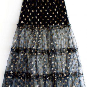 Czarna spódnica maxi w złote gwiazdy