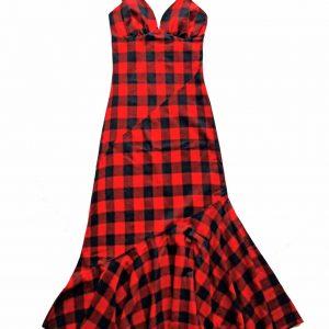 Długa sukienka w rasową kratę - Sukienka Sophie Czerwona