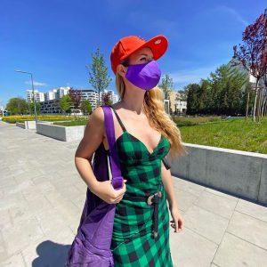 Długa sukienka w rasową kratę - Sukienka Sophie Zielona