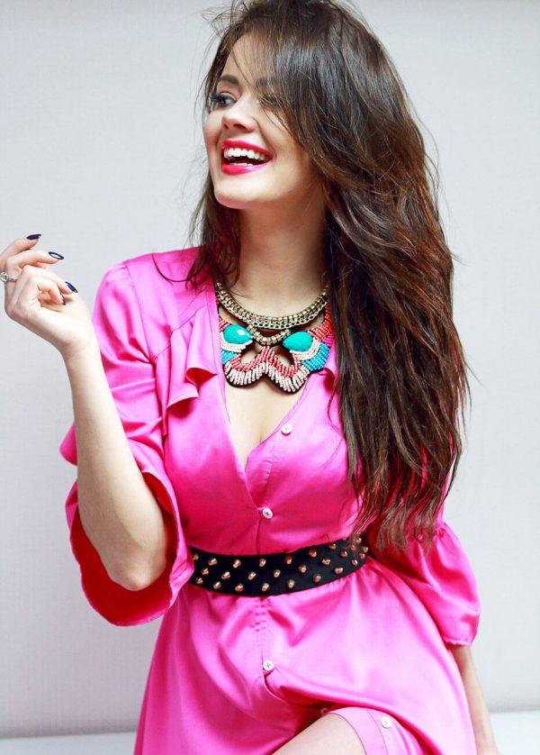 Sukienka różowa z falbaną