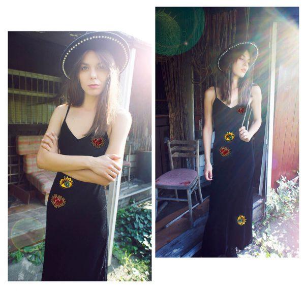 Dopasowana fantazyjna sukienka z boskimi aplikacjami.
