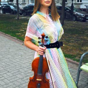 Sukienka pastelowa w kropeczki białe