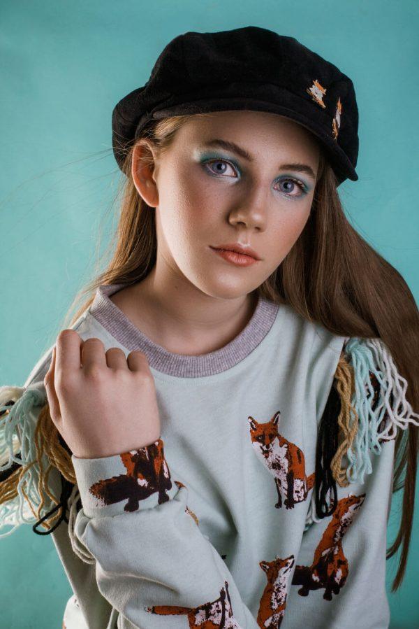 Bluza w rysunkowe lisy z frędzlami - Bluza Lisy
