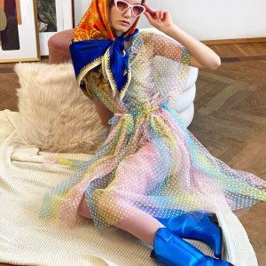 Sukienka pastelowa w kropki