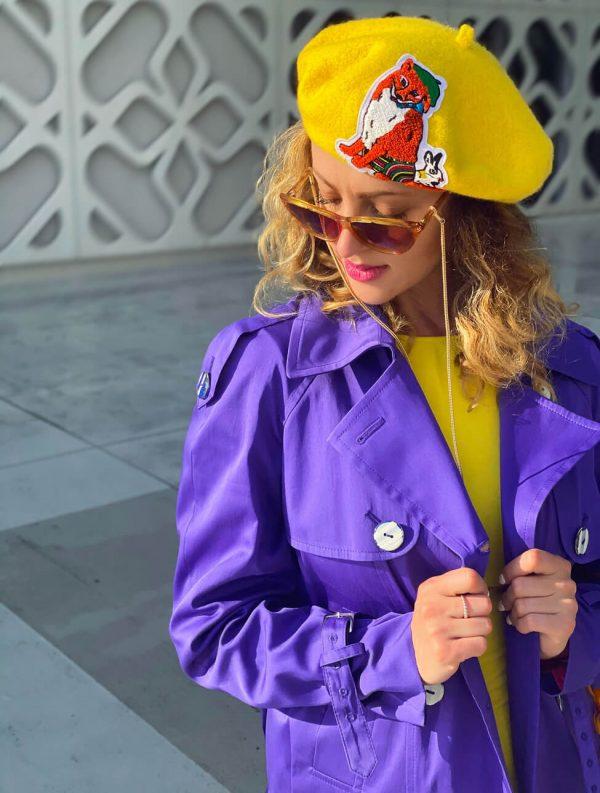 Stylowy/ dwurzędowy płaszcz w cudnym odcieniu fioletu.