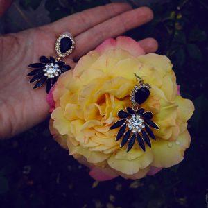 Kolczyki czarne kryształy