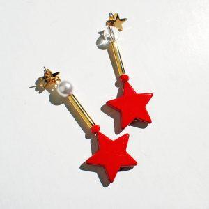 Kolczyki gwiazdy czerwone