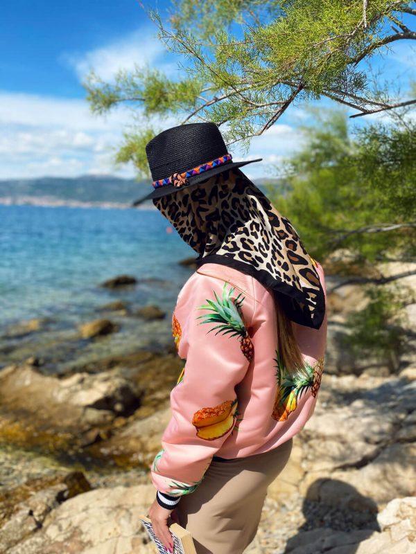 Piękna ananasowa różowa kurteczka z delikatnym połyskiem - Kurtka Ananasy Różowa
