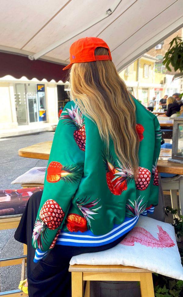 Piękna zielona, ananasowa kurteczka z delikatnym połyskiem - Kurtka Ananasy Zielona