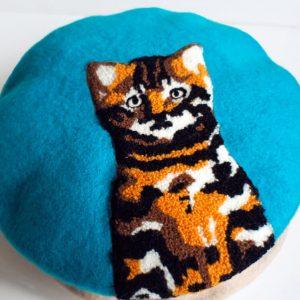 Beret kot turkusowy