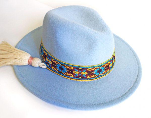 Kapelusz Fedora Błękitny