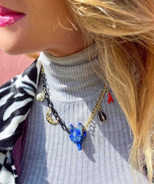 Naszyjnik Wilk Lapis Lazuli