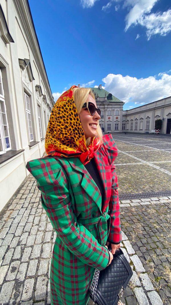 Chusta leopard czerwona