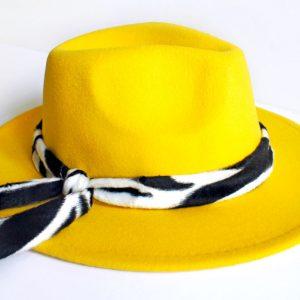 Kapelusz Fedora Żółty
