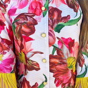 Płaszcz Kwiaty Frędzle